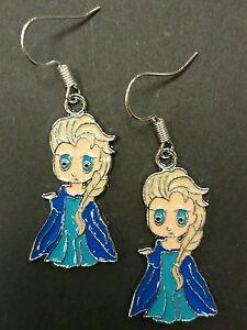 Elsa frozen enamel charm handmade earrings silver earwires hooks