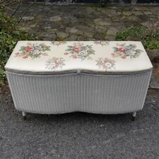 A Pretty 1950's Vintage Shabby Chic Wicker/Loom Style Ottomoan with Padded Top