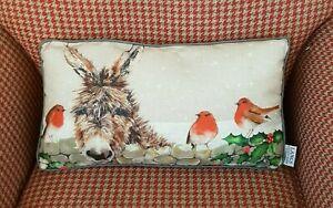 Christmas Cushion Donkey Robin In Snow Christmas Cushion Quality Xmas Cushion