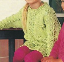 """Girls Tunic Sweater Knitting Pattern with Bobbles and Lace 20-26"""" DK  203"""