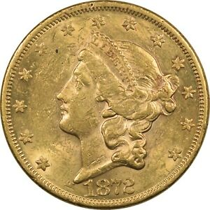 1872 $20 LIBERTY GOLD DOUBLE EAGLE, BETTER DATE, FLASHY UNCIRCULATED, MINOR WIPE