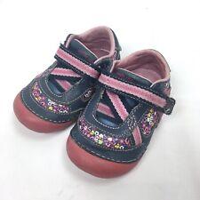 Stride Rite Toddler Baby Girl 4M Pink Blue Shoe Hook Loop SRT Soft Motion Autumn