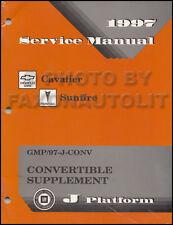 1997 Cavalier Sunfire Convertible Top Service Manual Chevy Pontiac Repair Shop