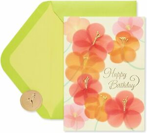 Gorgeous Papyrus Birthday Card - Handmade Flowers 3D Stamens  Petals MSRP $10.50
