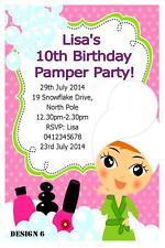 1 x PAMPER SPA PARTY GIRLS BIRTHDAY PERSONALISED INVITATIONS INVITES + MAGNETS