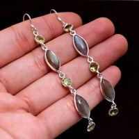 """925 Sterling Silver Jewelry Labradorite Peridot Gemstone Dangle Earrings 2.85"""""""