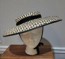 1950s Vintage Cream/Black Hat~Chiffon Ties~Summer~Straw
