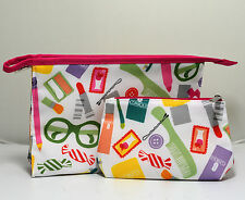 A Set of Two Clinique Zipper Cosmetic / Makeup Bags (large +small) Free Shipping
