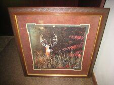 "Vintage Home Interiors Framed Buck Deer Picture; Jim Hansel; Homco; 23"" X 23"""