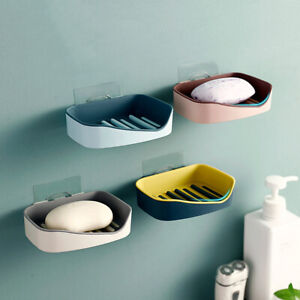 Double Layers Soap Dish Holder Wall Draining Box Bathroom Shelf Stand Plate Home