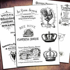 16 French Advert vintage furniture craft sticker self adhesive sheets
