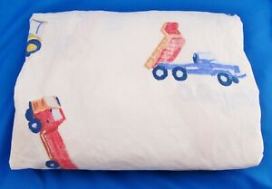 Pottery Barn Kids Full Fitted Sheet Watercolor Construction Vehicles Trucks Bed