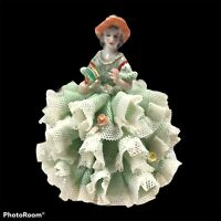 M Volkstedt Irish Dresden Vtg figure Porcelain Lady Lace Emerald Collection