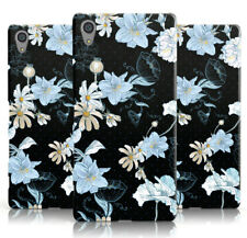 DYEFOR PASTEL BLUE FLORAL CONTRAST BLACK PRINT PHONE CASE COVER FOR SONY XPERIA