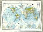 Antique Map of The World Western Northern Hemisphere Globe Berghaus Star Chart