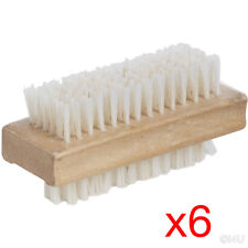 6 X WOODEN NAIL BRUSH MANICURE PEDICURE SCRUBBING CLEANING BRISTLES 12x4.5cm