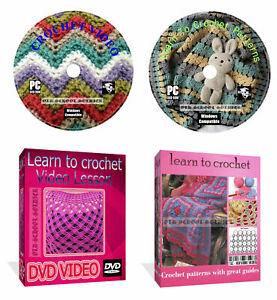 Learn How To Crochet 830 patterns with great guides + Video Lesson 2 disks