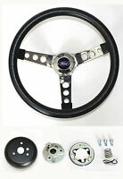 "New! 1970-1973 Mustang Grant Black Steering Wheel 13.5"" Mounting Kit & Ford cap"