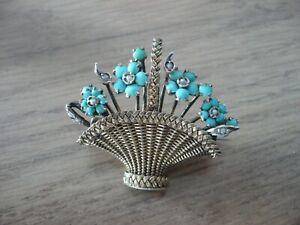 Broche ancienne argent massif vermeil Turquoise et Perle de culture