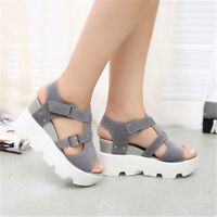 Womens High Wedge Platform Ankle Strap Summer Roma Sandals Peep Toe Shoes Size