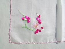 Vintage Handkerchief Hankie Magenta & Pink Flowers Embroidered on White Silk