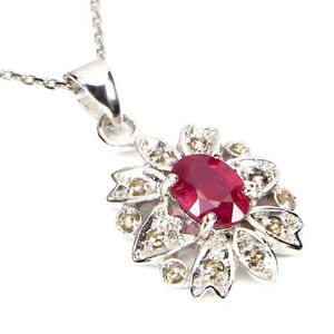 Oval Red Ruby 7x5mm 12pcs Diamond Round Rose Cut 925 Sterling Silver Necklace 18