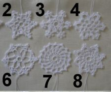 """Hand Made Crochet Knitted White SnowfLake Hang on Christmas Tree Decoration 3"""""""