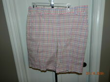 LADY HAGEN Pink Plaid Stretch Cotton Bermuda Golf Shorts - Size 12 MINT!