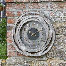 Outdoor Retro Clock Large Numeral Wall Clock for Garden Indoor Metallic Silver