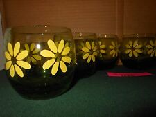 6 Vintage RETRO Green Glass Yellow Daisy Rolly Polly Drink Glasses