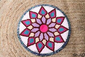 Colourful Round Rug Door Handmade Mat Circular None Braided Rug Retro 50cm 3