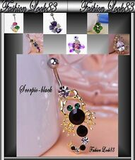 Piercing Nombril SWAROVSKI Elements Acier Chirurgical 316L  Or sexy SCORPIO