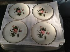 "Four Universal China Ballerina Pattern Moss Rose Gold Trim 9 7/8"" Dinner Plates"
