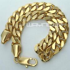Mens Womens18k yellow gold GF curb rings link chain solid bracelet bangle B152