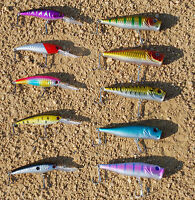 USA LOT of 10 Fishing Lures Hard Minnow Crankbait Swimbait Topwater popper BASS