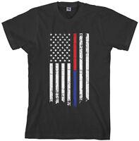 Threadrock Men's Red Blue Line Flag T-shirt Firefighter Police