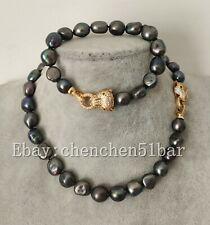 Big 11-12mm schwarz Barock Süßwasser Perlenkette Armband Tigerauge Verschluss