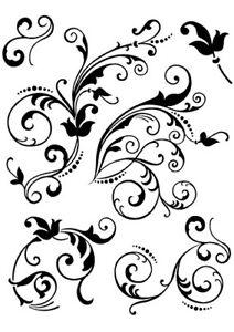 Viva Decor Silikon-Stempel Clear Stamps Motivstempel Florale Schnörkel Swirl D7