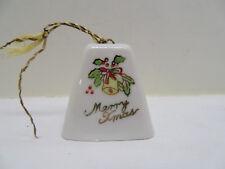 "Vintage Porcelain Ceramic Xmas Bell Japan 1 5/8"" Tall"