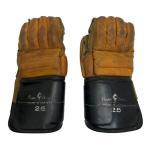 Vintage Cooper Weeks Leather Hockey Gloves 25 Armourclad Thumb Made in Canada