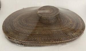 Rosas Artcrafts Placemats Coasters Set 6 Brown Rattan Oval Oblong Woven