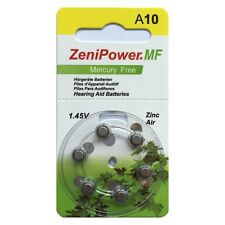 Zenipower size 10 Mercury Free hearing aid batteries x 60 cells