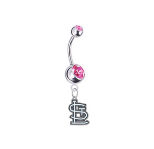 St Louis Cardinals PINK CZ Silver Belly Button Navel Ring Piercing SHIPS TODAY