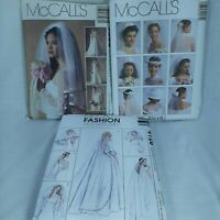 Three McCall's Sewing Patterns Bridal Veils Headpieces And Hats 35083 2057 4126