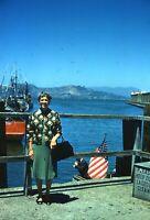Fisherman's Wharf Woman Posing 1962 San Francisco Original 35mm Slide