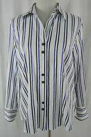 GERRY WEBER Bluse Hemdbluse weiß blau schwarz gestreift Gr. 42