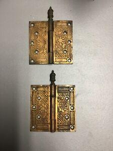 "Antique Ornate Solid Bronze Door Hinges, LOT OF TWO, 5"" x 5"""