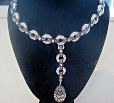 Silver/Black Metal Swan SWAROVSKI COLLECTION Crystal Choker Dangle Necklace 506