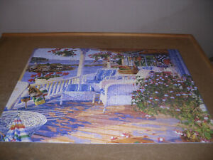 """White Mountain 300 piece E-Z Grip puzzle, """"On the Water"""", complete as shown"""