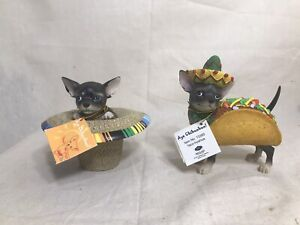 Aye Chihuahua Figurines SOMBRERO & TACO-HUAHUA 2010 Westland Giftware